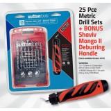 25 Pce Blue Finsh Metric Drill Set with Bonus Shaviv Deburring